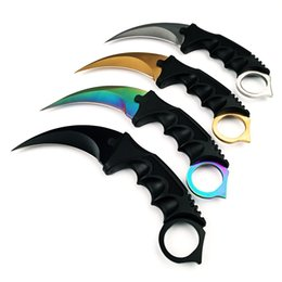 Wholesale Fighting Fixed Blades - WTT CS GO Counter Strike Karambit Fixed Knife Combat Hunting Knives Fighting Claw Knife Tactical Survival Pocket Neck Knife Camping EDC Tool