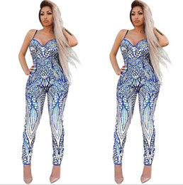 sexy m tattoos Coupons - 2017 new Women Jumpsuit Fashion deep V legant Rompers Print Bodysuit ladies Sexy tattoo Playsuits Long Pants S-XL
