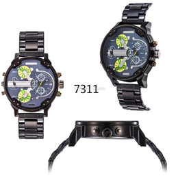 Wholesale Large Clock Calendar - 2015 new 7311 7312 Best-Selling Mens atmos Clock Leather Strap Watches Full Men Watch Steel Military Quartz Mens watches Large dial watch