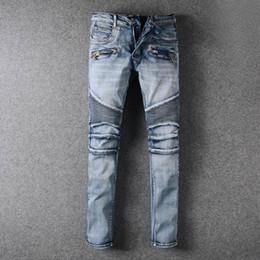 Wholesale Vintage Clothing Brands - High Fashion Pierre Classic Ripped Jeans Men Designer Straight Mens Denim Jeans Famous Brand Vintage Biker Jeans Clothing Trousers Cotton