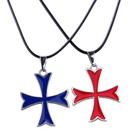 Wholesale Knights Pendant - black red blue alloy punk Statement children game Assassin Creed necklace Knights Templar Order Iron Cross Medal pendant Cross necklace x343
