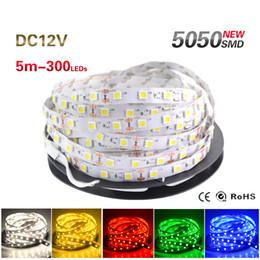 Wholesale Led Strip Home - 5M 300 LED 5050 SMD DC 12V LED Strip Light Non-waterproof Cool White  Warm White 60 leds m LED Flexible Light for Home