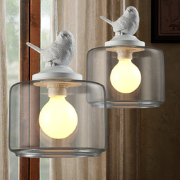 industrial bulbs Coupons - Industrial vintage pendant light original bird designer glass lamp shade E27 pendant lamp holder loft bar lamps Edison bulb
