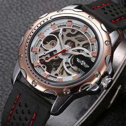 Wholesale Mechanical Watche - Winner automatic Mechanical self-Wind skeleton watch with calendar Luxury men silica gel Watch strap Stainless Steel case dress wrist watche