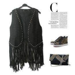 Wholesale Suede Fringe Coat - Wholesale-European 2016 PUNK RAVE Fashion Fringe Waistcoat Suede Faux Leather Cardigan Black Tops Casual Coat Black Tassel Vest Outwear