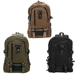Wholesale Military School Bags - Canvas Schoolbag Travel Rucksack Mountain Backpack Camping Softpack Pack Unisex Oudoor Hiking Camp Military Tactical School Bags