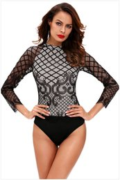 Wholesale Sexy Leotards For Women - bodysuit for women Transparent sleeve leotard bodysuit Sexy O-neck long-sleeved Lace stitching bodysuit playsuit