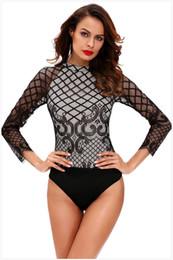 Wholesale Transparent Leotards - bodysuit for women Transparent sleeve leotard bodysuit Sexy O-neck long-sleeved Lace stitching bodysuit playsuit