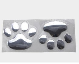 Wholesale Paw Foot - Hot sales 20Pairs lot funny cute 3D Bear Animal Paw Foot Print Car decorative stickers decals Emblem Golden & Silver Free Shipping