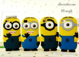 Wholesale Despicable Iphone 4s Cases - 3D Silicone Cute Minions Despicable Me2 Case Soft Cartoon Back Cover for iphone 5 5S 5c 4 4S 6 Plus DHL