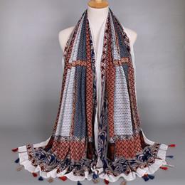 Wholesale Cotton Lace Scarfs - Vougue Classic designer paisley geometric printing cotton tassle scarf and shawls winter wraps wholesale big size best seller
