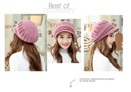 Wholesale Korea Fashion Street Wholesale - 100pcs lot 2016 Korea style women warm rabbit fur knitted hats winter autumn Dome Hemp rope weaving 6colors free size wide brim caps
