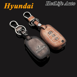 Wholesale Hyundai Santa - For 2014 2015 Hyundai IX35 IX45 Santa Fe Car Keychain Genuine Leather Carve Car Key Case Cover Car Key Chain Rings Auto Accessories