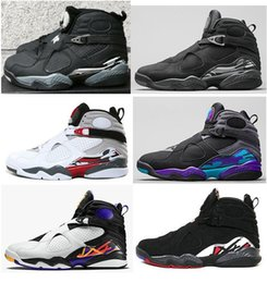Wholesale Aqua Basketball - New 8 8s Chrome Aqua Black Purple Basketball Shoes Men 8s Playoffs Three Peat 2013 Release Sneakers With Shoes Box