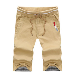 Wholesale fit cargo shorts - High Quality Slim Fit Khaki Shorts Mens Casual Cotton Embroidery Drawstring & Elastic Waist Cargo Short Pants 2016 Summer