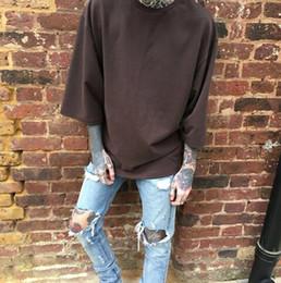 Wholesale Tyga Hoodies - 3 4 sleeve sweatshirt men hip hop streetwear skateboard kanye west tyga justin bieber designer swag season hoodie