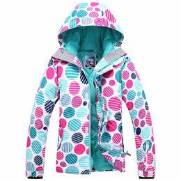 Wholesale Warmest Womens Ski Jacket - Free shipping 2016 womens polka dots snowboard jackets ladies colorful round dots ski jacket for women skiwear waterproof warm