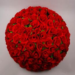 Wholesale Kissing Ball Diy Silk Flowers - 40 cm Elegant Artificial Decorative Silk Flowers Rose Kissing Ball DIY Craft Ornament For Wedding Party Decoration Supplies