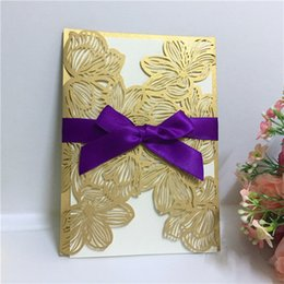 Wholesale birthday party business - 2018 Elegant Carved Butterlies Romantic Gold Wedding Party Invitation Card, Beautiful Invitations for Wedding Business Party Birthday