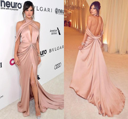Wholesale Sexy Stylish Party Dresses - 2017 New Stylish Deep V Neck Sexy Red Carpet Evening Dresses Draped Open Back High Split Formal Prom Party Gowns Sweep Train