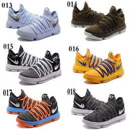 Wholesale Kd Low Cut Black Silver - new KD 10 University Red White blue black gray Men's Casual Basketball Shoes KD 10 Sneakers Size : 7-12 Free shipping