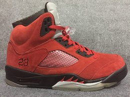 Wholesale Cheap Shoes Low Prices - Wholesale Discount Retro 5 V Raging Bull Red Suede Mens Basketball Shoes High Quality Sports Shoes Cheap Price Raging Bull Free Shipping