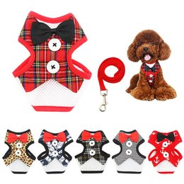 Wholesale Wedding Dresses For Outdoors - Vest Pet Dog Harness Leash Set for Small Medium Dogs Bow tie Formal Dress Plaid Navy Puppy Harness Chest Strap Outdoor