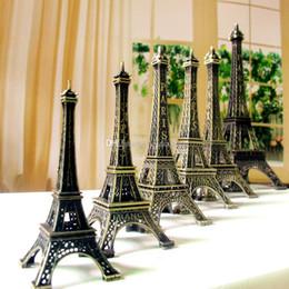 Wholesale Bronze Statues Wholesale - Bronze Tone Paris Eiffel Tower Figurine Statue Vintage Model Decor Alloy E00298 SMAD