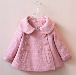 Wholesale Wholesale American Baby Doll - 2016 baby fashion autumn & winter coat double-breasted doll collar woolen coat 2-7 years girls short style windbreaker jacket 5pcs D3