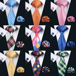 conjuntos de gravata de seda Desconto Conjunto de gravata série xadrez para homens clássico seda Hanky abotoaduras Jacquard tecido atacado gravata conjunto de gravata masculina