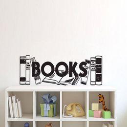 Wholesale Kids Sticker Books - Books Wall Stickers Home Decor Living Room Bookshelf Wall Decals For Kids Vinyl Creative Wall Murals