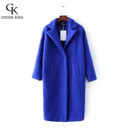 Wholesale Natural Blue Sapphire Beads - 2016 Autumn Winter Fashion Women Wool Coat Slim Imitation Cashmere Outerwear Padded Lining sapphire blue Overcoat