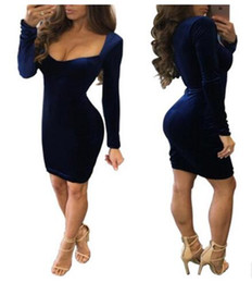 Wholesale Celebrities Sexy Clothes - Dresses for Women Clothes New Celebrity O-neck Long Sleeve bodycon Dress Ladies Gold Velvet Sexy club bandage dress