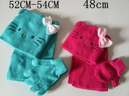 Wholesale Glove Scarf Ear Warmer Set - Cute Cat with Bow Ears kid and children 3 pcs Winter Warm Knit Hat Scarf and Gloves Set Double Layer New Arrvial