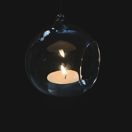 Wholesale Glass Tea Light Candle Holder - Wholesale Wedding Hanging Bubble LED Votive Candle Holder 6cm 8cm 10cm 12cm Home Decoration Lanterns Globe Terrariums