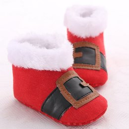 Wholesale Baby Girl Cute Costume - Baby Christmas shoes Cute Red Santa Claus warm shoes prewalkers for baby boys girls Newborns Xmas Costume props for 0-1T