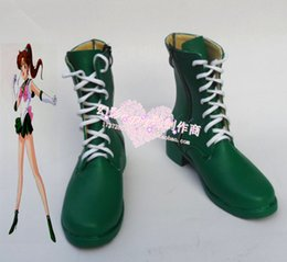 Wholesale Black Moon Boots - Wholesale-Sailor Moon Kino Makoto Jupiter side zipper cosplay shoes boots shoe boot #HY078 Halloween
