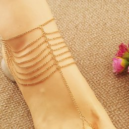 Wholesale Tassel Anklets - Fashion Women Sexy Gold Plated Anklet Bracelets For Beach Slave Tassel Toe Chain Link Foot Jewelry Foot Bohemian Free shipping