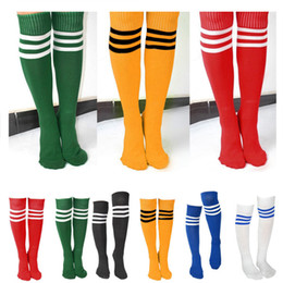 Wholesale Wholesale Red Striped Socks - Wholesale-Men Women Girl Striped Over The Knee Thigh High Stockings Football Long Socks