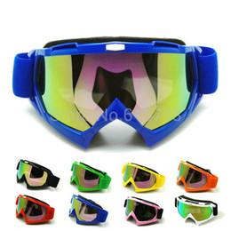 Wholesale Motorcycle Motocross Bike Cross - BLUE color Motorcycle goggles Adult Motorcycle goggles Motocross Bike Cross Country Flexible Goggles Clear Lens