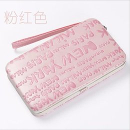 Wholesale Credit Card Embossing - Hot PU Leather Women's Wallet Candy Color Phone Bag Portefeuille Letter Embossing Leather Wristlet Wallet Clutch Women