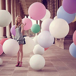 Wholesale 36 Giant Balloons - 36'' 25g Colorful Giant Big Round Balloon Latex Materia Thicken Birthday Wedding Party Home Decoration Helium 15 Colors Min Order 10PCS