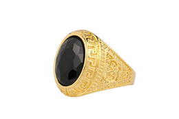 Wholesale European American Fashion Ring - 2016 hot summer European and American fashion Male and female General black onyx gemstone rings carved jewelry simple