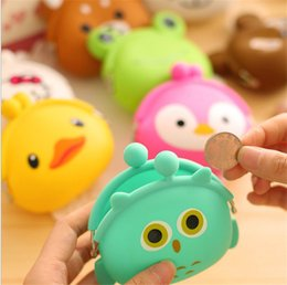 Wholesale Coin Change - 100pcs Cute Mini key Wallet bag Women Silicone hasp Coin Purse Japanese Candy Color lovely Animals Jelly change Coin bag B902
