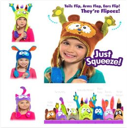 Wholesale Hats For Kids Crochets Cartoons - Children Thermal Ear Flaps Caps DHL Free Cartoon Winter Hat for Baby Kids Flipeez Chritmas Gifts For Kids Rabbit Hat
