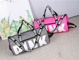 Wholesale Women Clothes Set - 2017 Women Handbags Pink Letter Large Capacity Travel Duffle Striped Waterproof Beach Bag Shoulder Bag DHL free