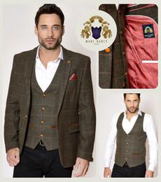 Wholesale Men Satin Waistcoat - Mens Marc Darcy Designer Olive Green Tweed Check Blazer Waistcoat Trouser