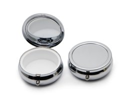 Wholesale Wholesale Pills - NEW DESIGE Pill boxes DIY Silver One Compartment Portable Engravable Chrome Purse Jewellery Organizer Container #PY01S FREE SHIPPING