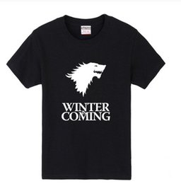 Wholesale Wholesale Long Mens Shorts - Hip Hop Men Tee Shirt Printed Game of Thrones Winter Is Coming T Shirts Casual Mens Tops Wholesale Men T shirt by DHL