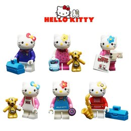 Wholesale Bear Kitty - Girl Series Hello Kitty Cat Minigifures Building Blocks Toys Bear Cup Flower Bag Bricks JLB18901-18906